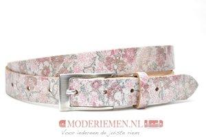 2,5 cm zilveren riem met bloemen -  Joss dames riem zilver met bloemen 0895/11/29/1