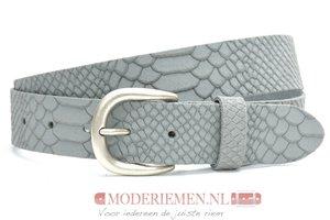 3,5cm grijze riem - jeans riem grijs met snake structuur gr350sn
