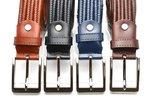 3,5 cm gevlochten elastische leren riem bruin 80093