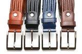 3,5 cm gevlochten elastische leren riem blauw 80093_