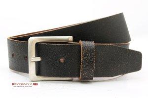 4,5cm jeans riem zwart-bruin crack leder zg458