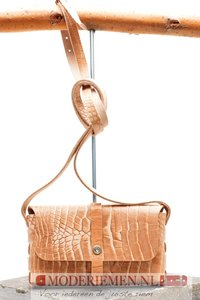 Schoudertas / Crossbody sand met krokoprint  Unleaded