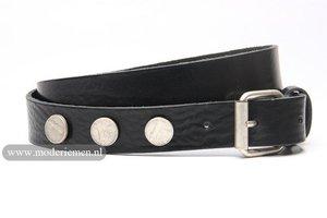 3cm stud  riem met muntjes zwart zw300money