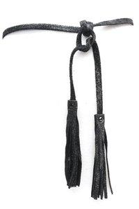 Knoop riem van metallic zwart leder