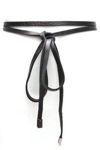 Knoop riem van zwart leder 019