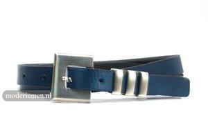 2cm nerflederen dames riem blauw bl202