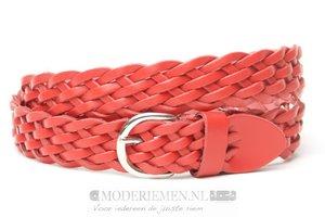 3,5cm gevlochten riem rood ro350gevl