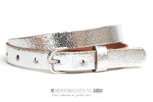 2cm kinderriem zilver metallic crack leder kzil200cr