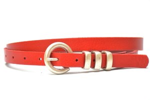 1,5cm rode riem - smalle dames riem rood ro154