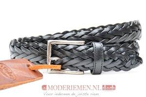 3,5cm gevlochten riem zwart van het merk Timbelt zwvlecht350TB
