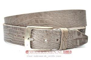4cm grijze riem met croco print - jeans riem grijs Timbelt gr622TB