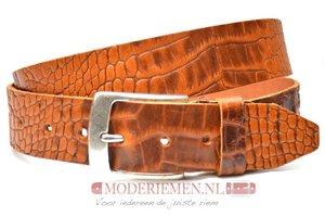4cm cognac riem met croco print - jeans riem cognac Timbelt co622TB