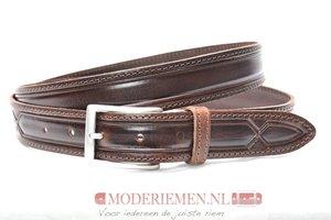 3cm donkerbruine pantalon riem - bruine riem met print Timbelt br300tb