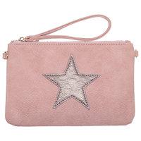 Roze tas - clutch - oud roze met ster