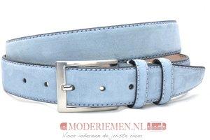 3,5cm pantalon riem lichtblauw suède lbls350am