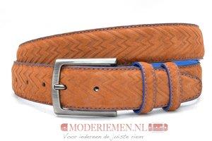 3,5cm pantalon riem cognac suède met zig zag print cos309/9030
