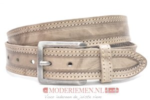 4cm taupe riem - jeans riem taupe dubbel gestikt taupe300/109