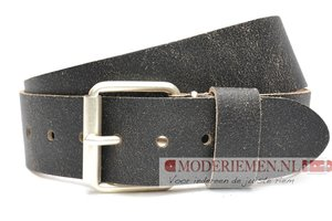 5cm zwarte riem - jeans riem zwart crack leder zwcr502PB