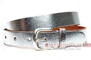 3cm zilveren riem Unleaded dames riem zilver crack leder U30877