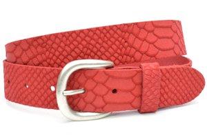3,5cm jeans riem rood nubuck met snake structuur rood350snake