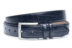 3,5cm blauwe pantalon riem - blauwe croco riem blcr350am