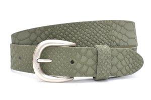 3,5cm jeans  riem army green nubuck met snake structuur groen350snake