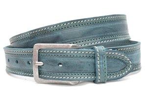 4cm petrol riem - jeans riem petrol dubbel gestikt pet300/109