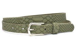2 cm jeans riem army green nubuck met snake structuur groen200snake