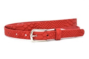 2 cm jeans riem rood nubuck met snake structuur rood200snake