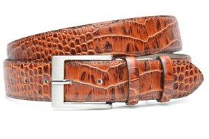 4cm cognac pantalon riem croco - cognac riem van leder met krokodillenprint co400crocoam