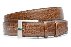 4cm bruine pantalon riem croco - bruine riem van leder met krokodillenprint bruin400cr
