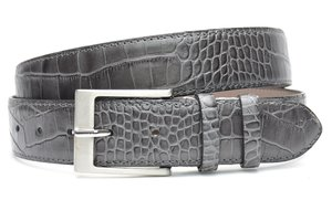4cm grijze pantalon riem croco - grijze riem van leder met krokodillenprint grijs400cr