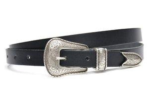 2cm smalle dames riem western zwart zw20937