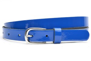 2cm blauwe lakriem - blauwe dames riem lakleder Unleaded bllak20915