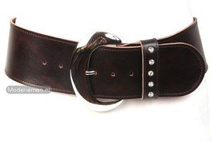 8cm brede dames riem bruin strass br803