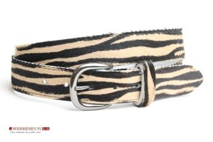 3,5cm dames riem koeienhuid met zebra print Zebra351