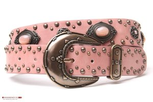 4cm jeans riem met studs en strass Joss oud roze 401303/02/15