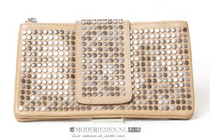 Taupe clutch met studs 6673-2 taupe