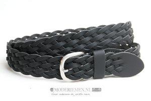 3,5cm gevlochten riem zwart zw350gevl