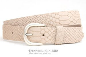 3,5cm ecru riem - jeans riem ecru nubuck met snake structuur ec350snake