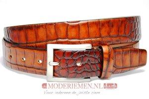 3,5cm cognac pantalon riem - cognac croco riem Timbelt co509tb