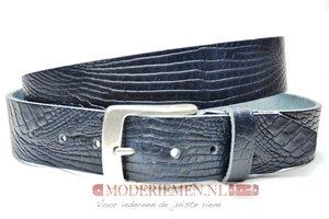 4cm blauwe riem met croco print - jeans riem blauw Timbelt bl622TB