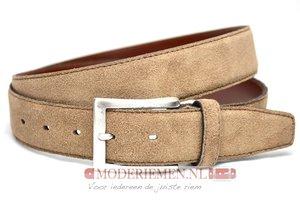 3,5cm pantalon riem taupe suède van het merk Timbelt taupes508tb