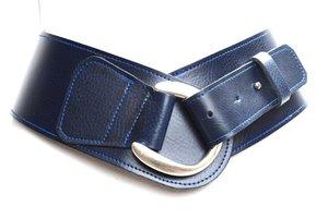 8cm donkerblauwe heupriem - brede dames riem donkerblauw bl8140