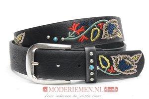 4cm zwarte jeans riem met stiksel zwarte riem Joss SA856