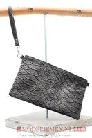 Schoudertas / Clutch zwart met krokoprint  Giuliano 552314 Black
