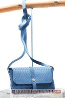 Schoudertas / Crossbody blauw met krokoprint  Unleaded