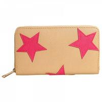 Portemonnee met sterren taupe - pink