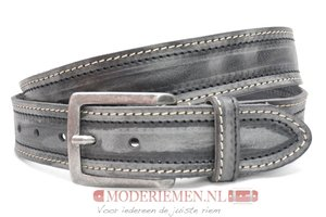 4cm grijze riem - jeans riem grijs dubbel gestikt gr300/109