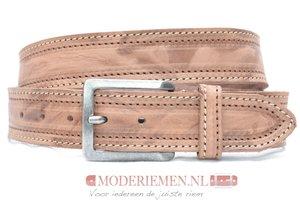 4cm bruine riem - jeans riem bruin dubbel gestikt bruin300/109